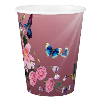 Hummingbirds With Flowers Butterflies Paper Plates Paper Cup