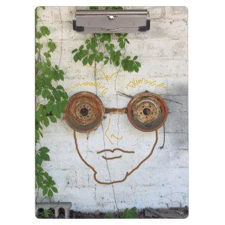 Humor Crazy Loco Guy Wearing Goggles Clip Board