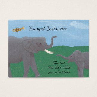 Humor Elephants Trumpet Instructor Business Cards