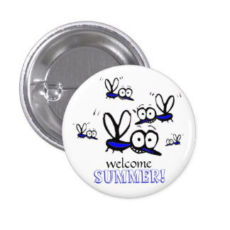 humor funny welcome summer cartoon mosquitoes 1 inch round button