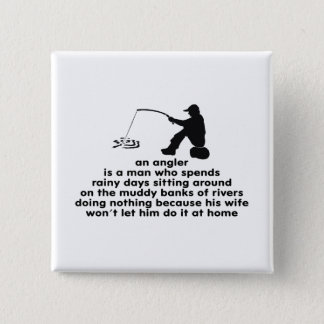 Humorous Angler's 2 Inch Square Button