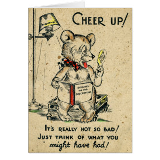 Humorous Bear Cheer Up Antique Animal Get Well Card