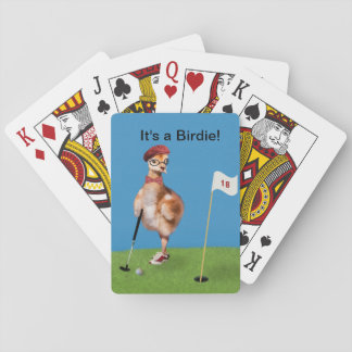 Humorous Bird Playing Golf Playing Cards