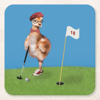 Humorous Bird Playing Golf Square Paper Coaster