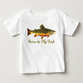 "Humorous ""Born to Fly Fish"" Trout Fishing Baby T-Shirt"