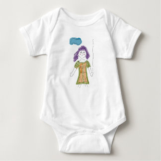 Humorous Cartoon Girl with Lost Balloon Baby Bodysuit