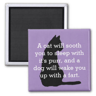 Humorous Cat and Dog Comparison Magnet