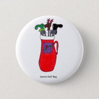 Humorous Christmas Santa's Golf Bag Button
