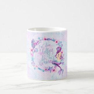 Humorous Coffee Mug Mermaid Seahorse Lavender Pink