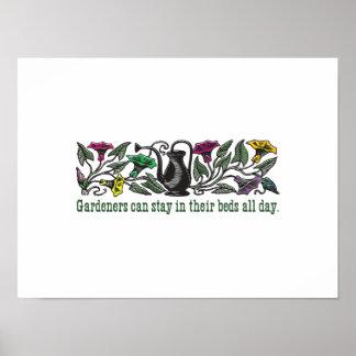 Humorous colorful gardeners poster