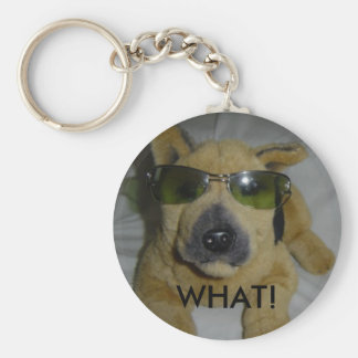 Humorous Dog in Glasses Basic Round Button Keychain