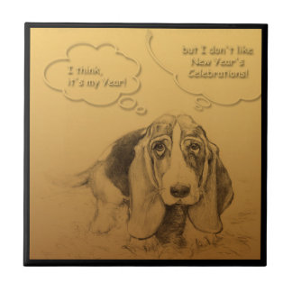 Humorous Dog Year 2018 Ceramic Tile