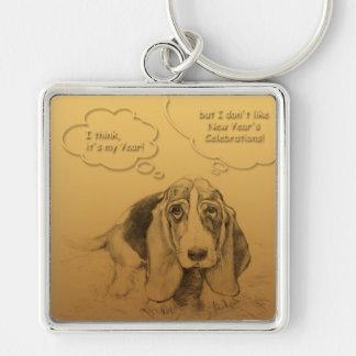 Humorous Dog Year 2018 Square keychain