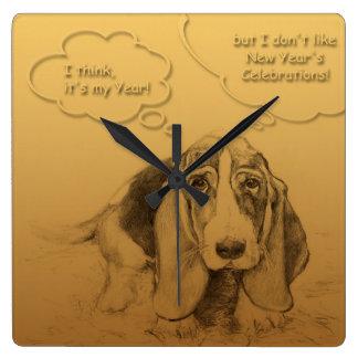 Humorous Dog Year 2018 Square W Clock