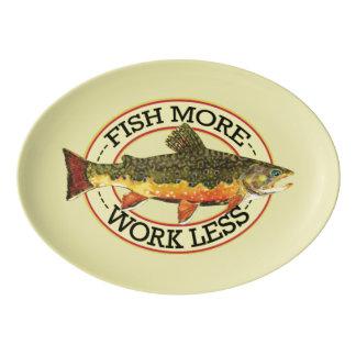 Humorous Fish More - Work Less Trout Fishing Porcelain Serving Platter