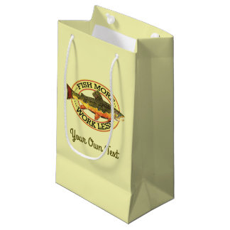 Humorous Fish More - Work Less Trout Fishing Small Gift Bag