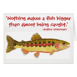 Humorous fishing quote with Trout Artwork Card