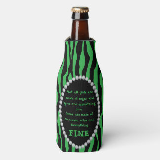 Humorous -Green Zebra, Diamonds Not all Girls Bot Bottle Cooler