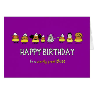 Humorous Halloween - Birthday for Boss - Candy Con Greeting Card