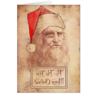 Humorous Leonardo as Santa Card