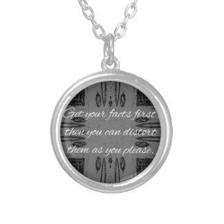 Humorous lying Quote On Goth Background Silver Plated Necklace