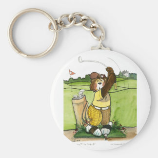 Humorous Male Golfer in a Yellow Outfit Basic Round Button Keychain
