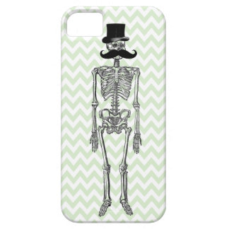 Humorous Mustache on Skeleton LIME iPhone Case