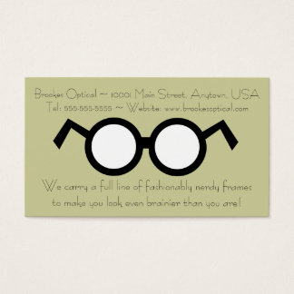 Humorous Optometrist Nerdy Round Black Glasses Business Card