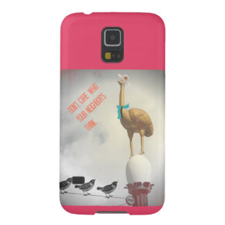 Humorous Ostrich Birds Phone Case Funny Text Pink