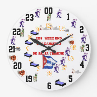 Humorous pendulum of the week end salsa large clock