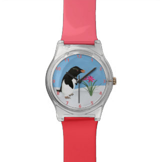Humorous Penguin and Pink Flowers Watch