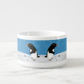 Humorous Penguin Playing Golf Chili Bowl