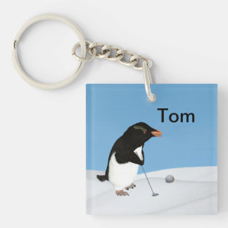 Humorous Penguin Playing Golf Customizable Double-Sided Square Acrylic Keychain