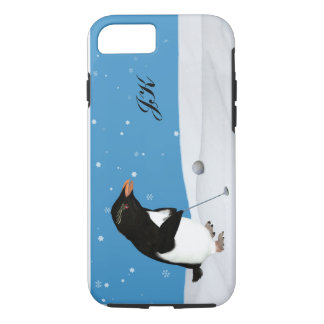 Humorous Penguin Playing Golf, Monogram iPhone 8/7 Case