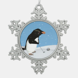Humorous Penguin Playing Golf Snowflake Pewter Christmas Ornament