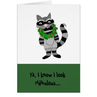 Humorous Raccoon Christmas Card