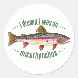 Humorous Rainbow Trout Design Round Sticker