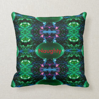 Humorous Red Green Naughty Nice Reversible Christm Throw Pillow