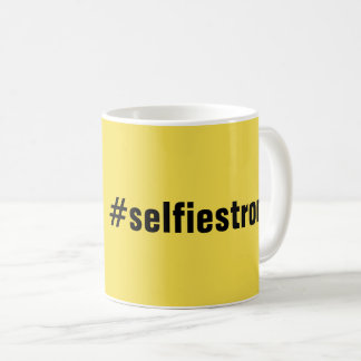 Humorous #selfiestrong Yellow Coffee Mug