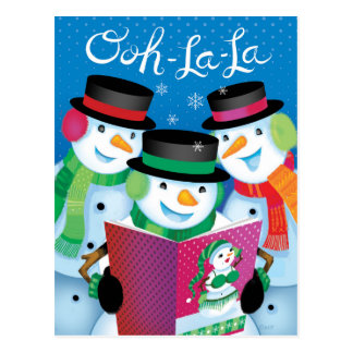 Humorous Snowmen Ooh-La-La Girly Magazine Postcard