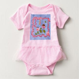 Humorous Sweet Peas Pink & Mauve Flower People Baby Bodysuit