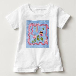 Humorous Sweet Peas Pink & Mauve Flower People Baby Romper