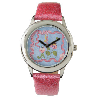 Humorous Sweet Peas Pink & Mauve Flower People Watches