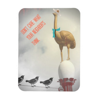 Humorous Text Ostrich Birds on Wire Magnet Retro