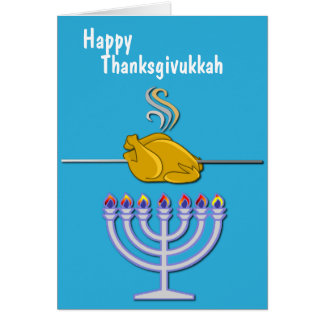 Humorous Thanksgivukkah Custom Card