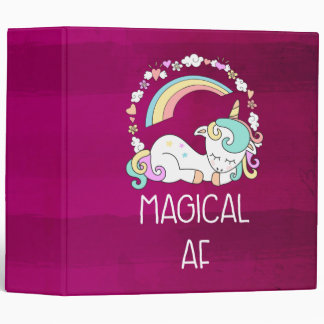 Humorous Unicorn Magical AF on Dark Red Pattern Binder