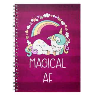 Humorous Unicorn Magical AF on Dark Red Pattern Spiral Notebook