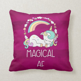 Humorous Unicorn Magical AF on Dark Red Pattern Throw Pillow