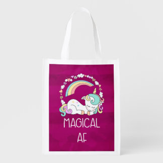 Humorous Unicorn Magical AF on Pinkish Red Patter Reusable Grocery Bag
