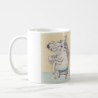 Humorous Warthog doing Embroidery Coffee Mug
